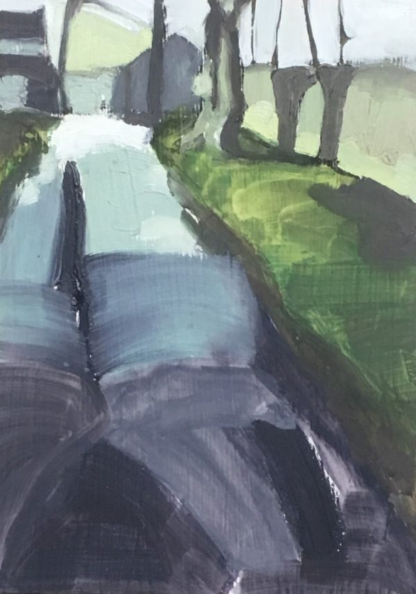 an abstracted painting of a path with a wall on the right